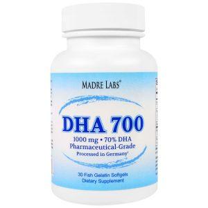 Madre Labs, DHA 700, сверхконцентрированный рыбий жир фармацевтического класса, не содержит ГМО, не содержит глютена, 1000 мг, 30 капсул из рыбьего желатина