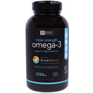 Sports Research, Омега-3, Утроенная Сила, 1250 мг